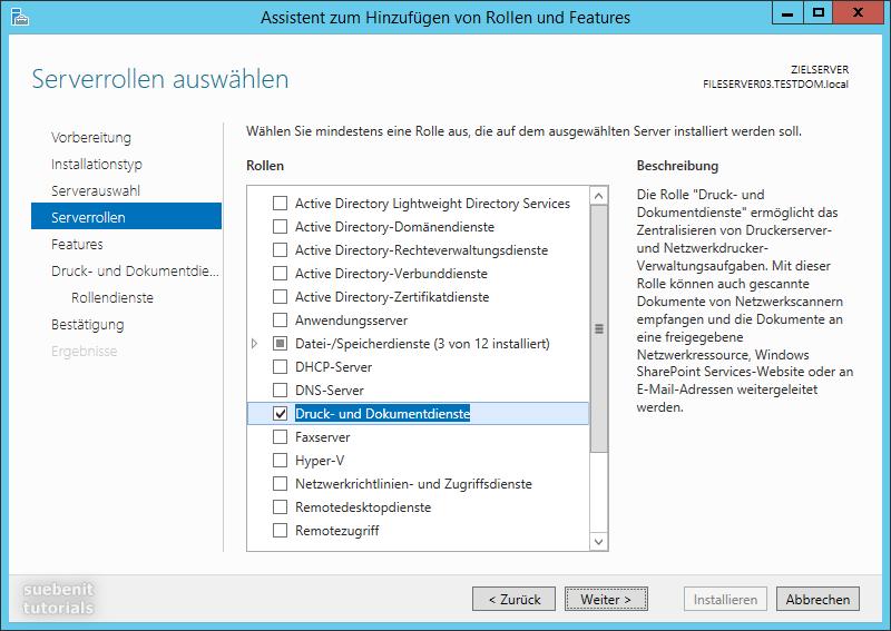 Server 2012 R2 Druckserver Serverrolle Druck- und Dokumentdienste
